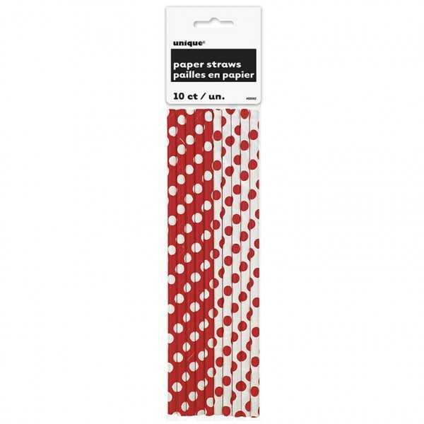 Papiertrinkhalme, Punkte rot, 10 Stk