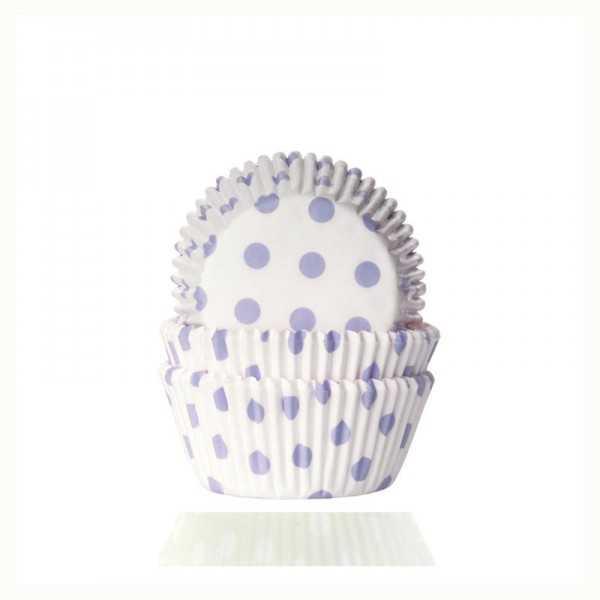 Muffinförmchen weiss mit hellblauen Punkten, 50 Stk