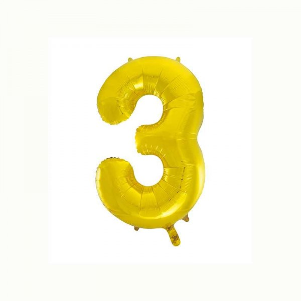 Folienballon Zahl 3 metallic-gold, 1 Stk.