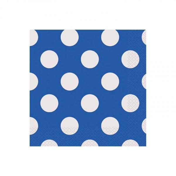 Servietten blau mit weissen Punkten, 16 Stk.