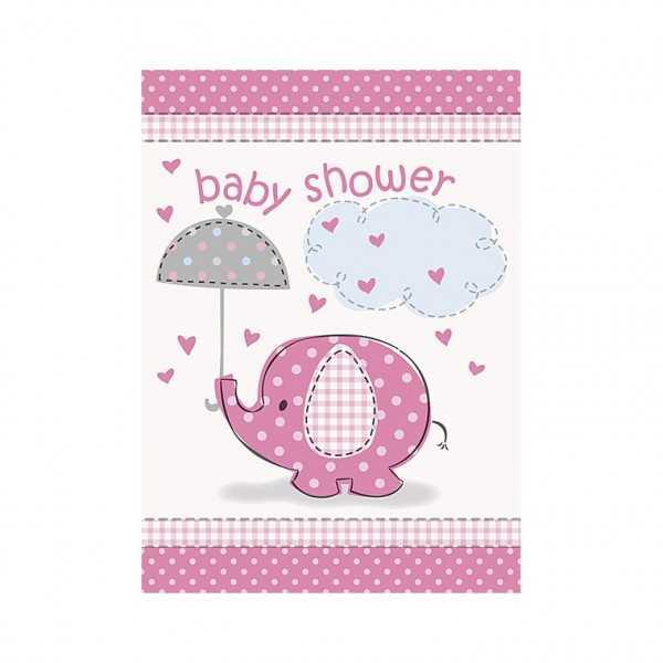 Einladungskarten Babyfant rosa, 8 Stk