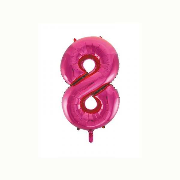 Folienballon Zahl 8 metallic-pink, 1 Stk