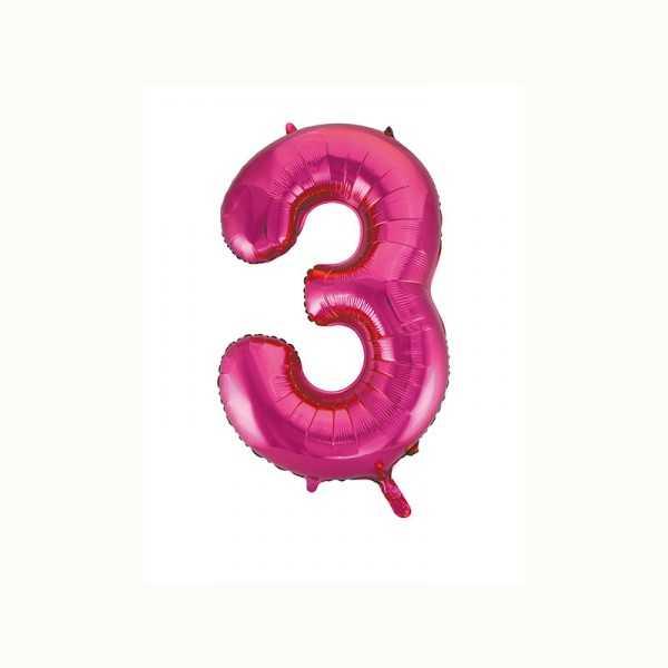 Folienballon Zahl 3 metallic-pink, 1 Stk.