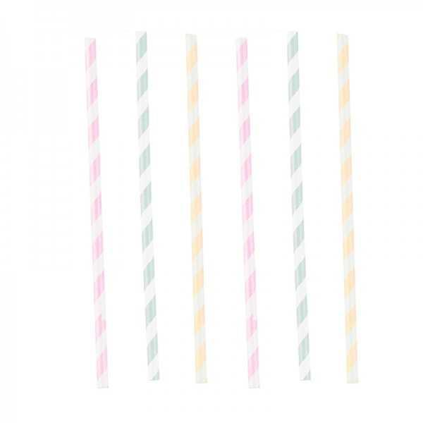 Trinkhalme Happy Birthday Pastell, 12 Stk.