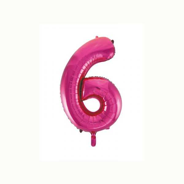 Folienballon Zahl 6 metallic-pink, 1 Stk.