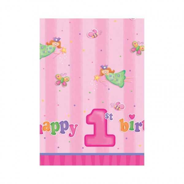 Tischdecke 1. Geburtstag. rosa