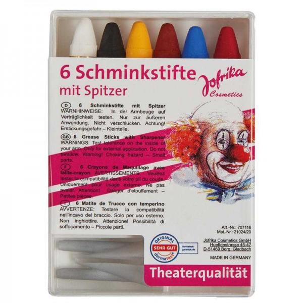Theater Schminkstifte mit Spitzer, 6 Stk