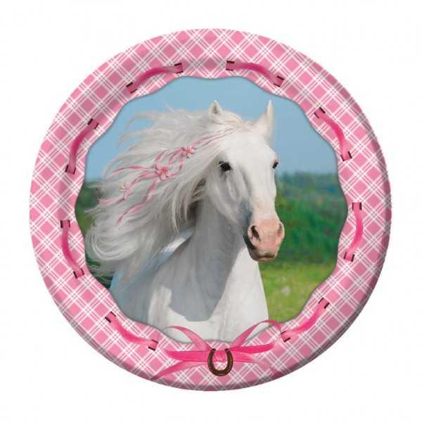 Teller Weisses Pferd, 8 Stk
