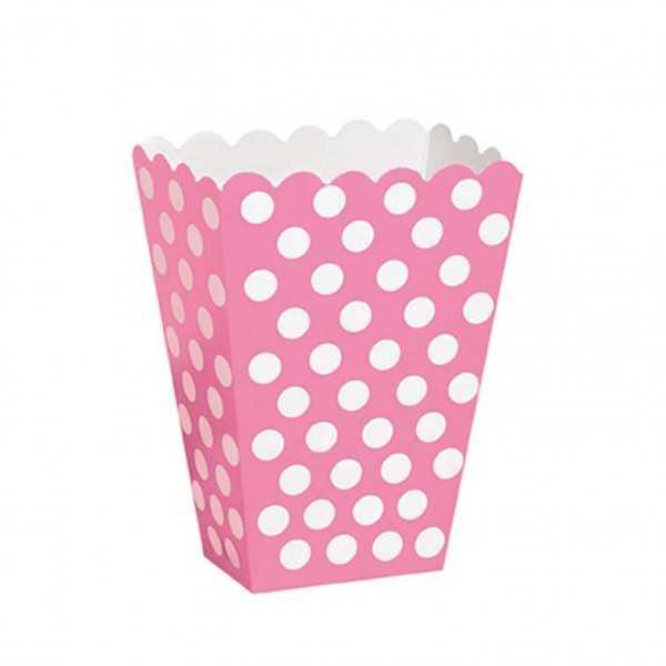 Box rosa mit weissen Punkten, 8 Stk