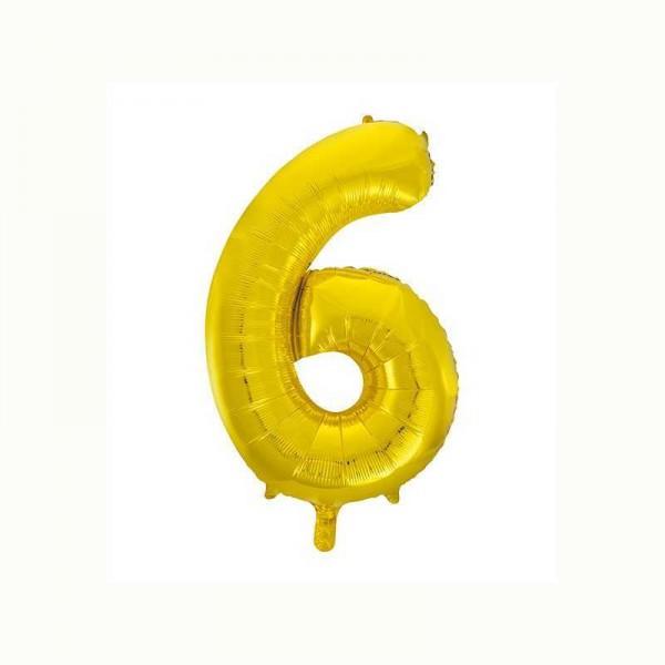Folienballon Zahl 6 metallic-gold, 1 Stk.