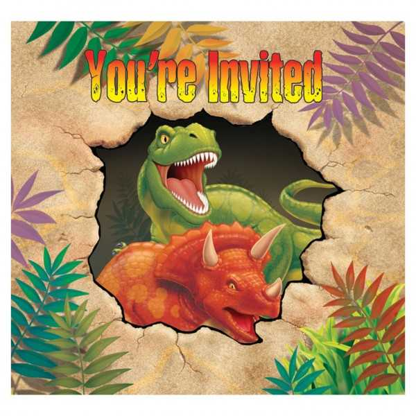 Einladungskarten Dinosaurier Alarm, 8 Stk
