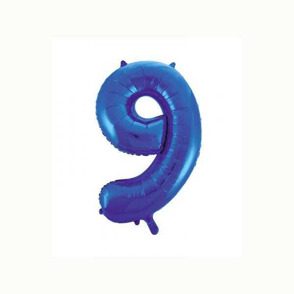 Folienballon Zahl 9 metallic-blau, 1 Stk.