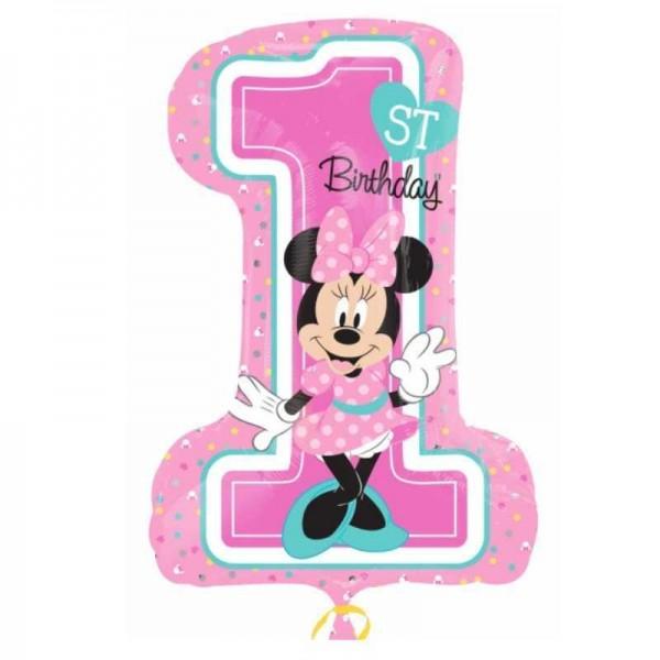 Folienballon 1. Geburtstag Baby Minnie Maus, 1 Stk.