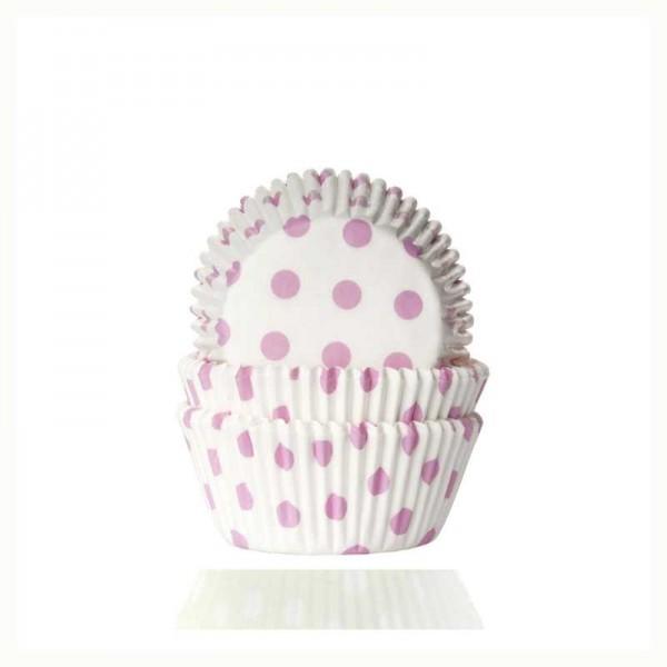 Muffinförmchen weiss mit rosa Punkten, 50 Stk.