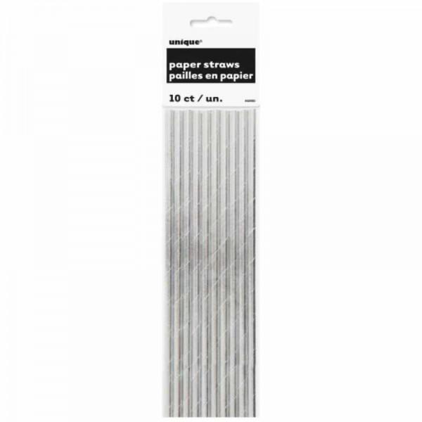 Trinkhalme silber, 10 Stk.