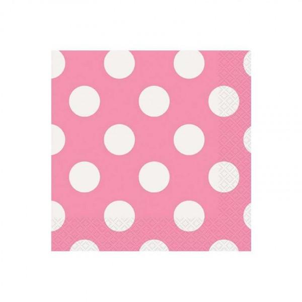 Servietten rosa mit weissen Punkten, 16 Stk.