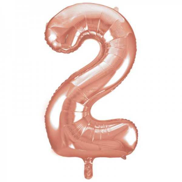 Folienballon Zahl 2 Rose Gold, 1 Stk.
