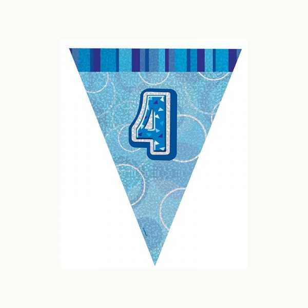 Wimpelkette Zahl 4 blau glitzernd, 1 Stk