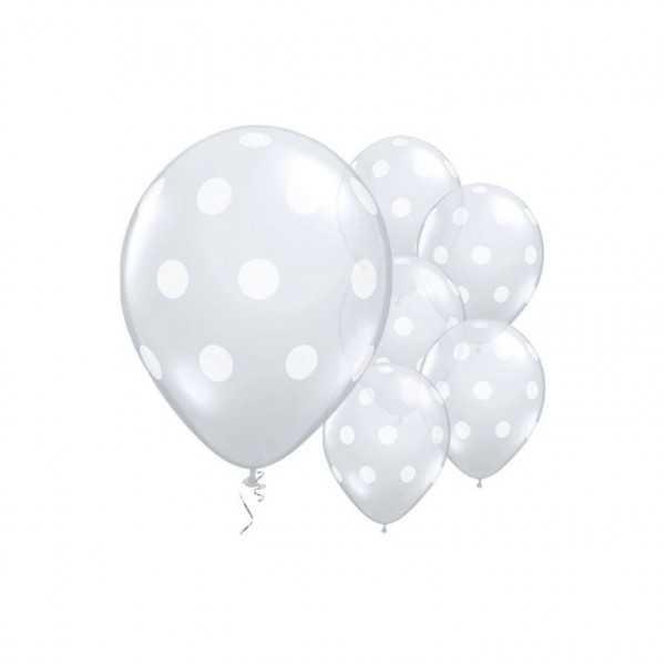 Luftballons transparent mit weissen Punkten, 25 Stk.