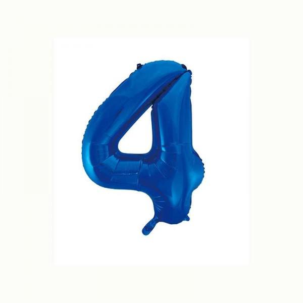 Folienballon Zahl 4 metallic-blau, 1 Stk.