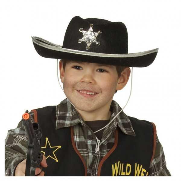Sheriffhut schwarz, 1 Stk