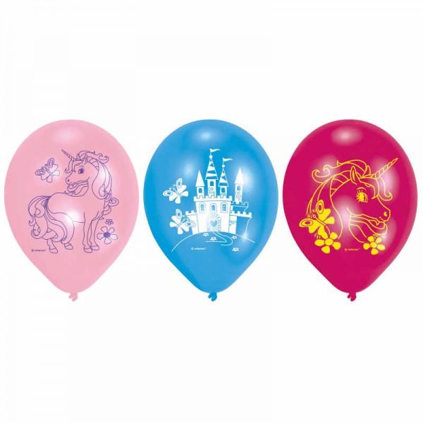 Luftballons Einhorn & Schloss, 6 Stk.