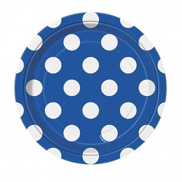 Teller blau mit weissen Punkten, 8 Stk