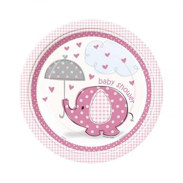 Teller Babyfant rosa, 8 Stk.
