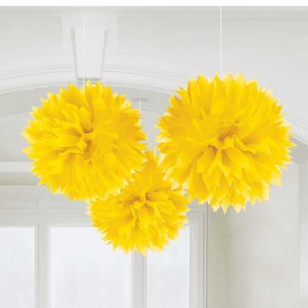 Pompon gelb 40cm, 3 Stk.