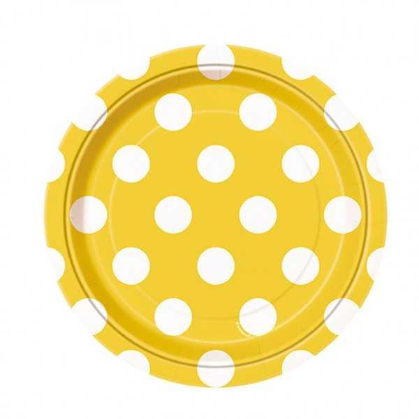 Teller gelb mit weissen Punkten, 8 Stk