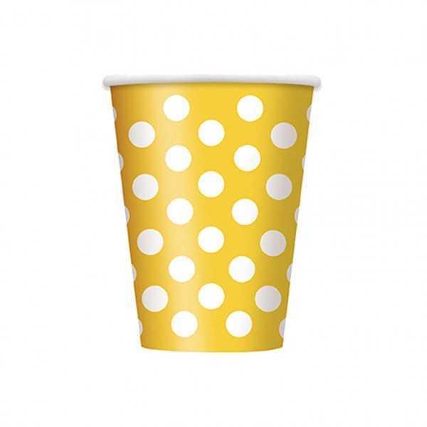 Becher gelb mit weissen Punkten, 6 Stk
