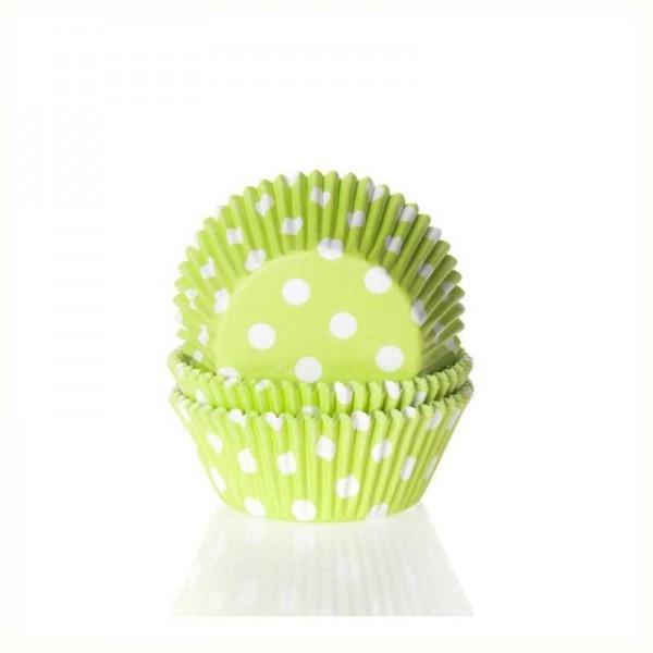Muffinförmchen hellgrün mit weissen Punkten, 50 Stk.