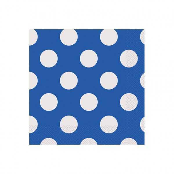 Servietten blau mit weissen Punkten, 16 Stk