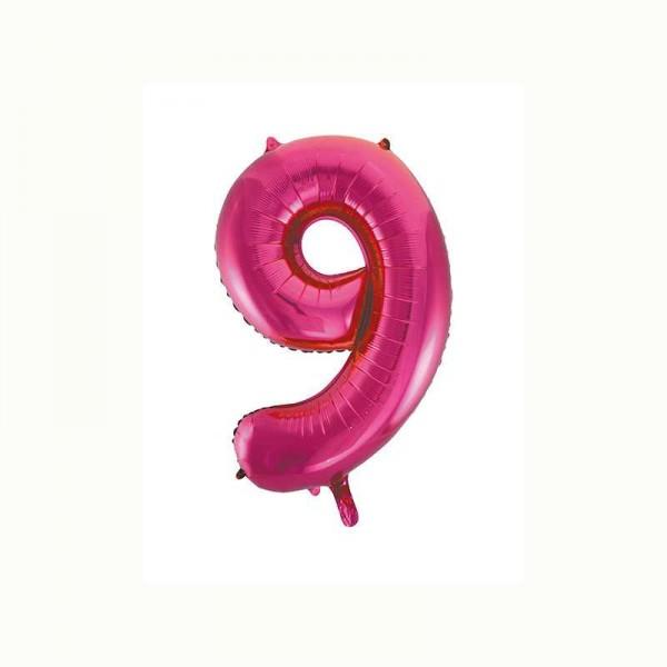Folienballon Zahl 9 metallic-pink, 1 Stk.