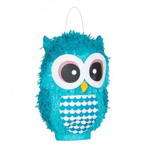 Piñata Eule blau