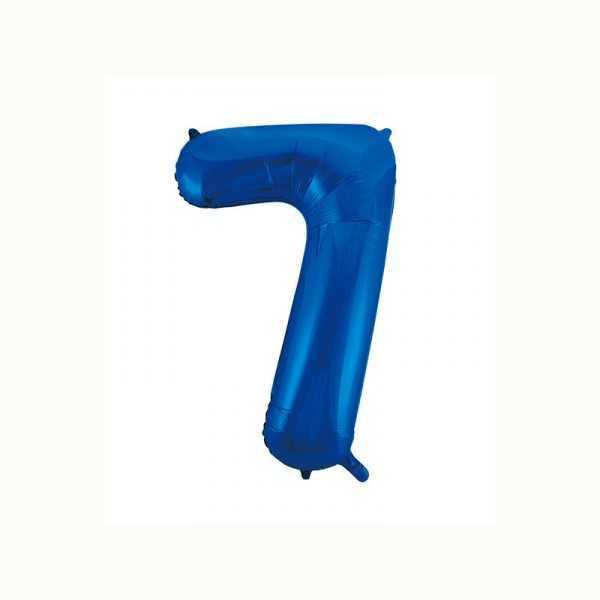Folienballon Zahl 7 metallic-blau, 1 Stk.