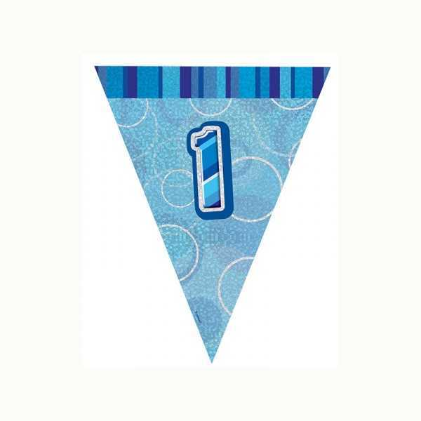 Wimpelkette Zahl 1 blau glitzernd, 1 Stk