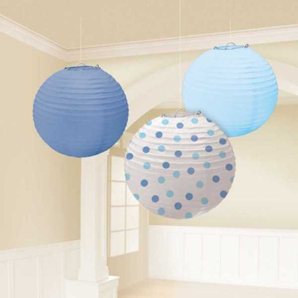 Lampion-Set hellblau, 3 Stk