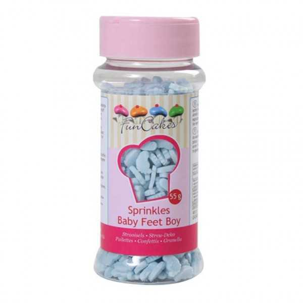 Funcakes Zuckerstreusel Babyfüsschen hellblau, 55 g