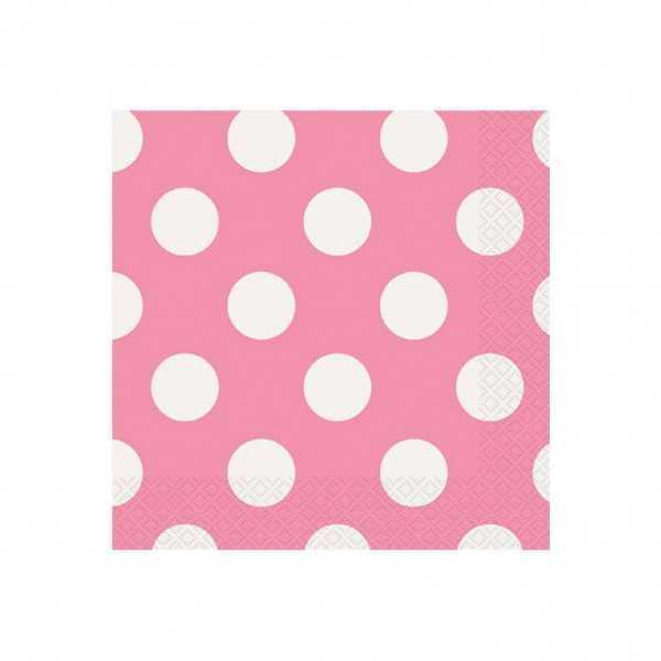 Servietten rosa mit weissen Punkten, 16 Stk