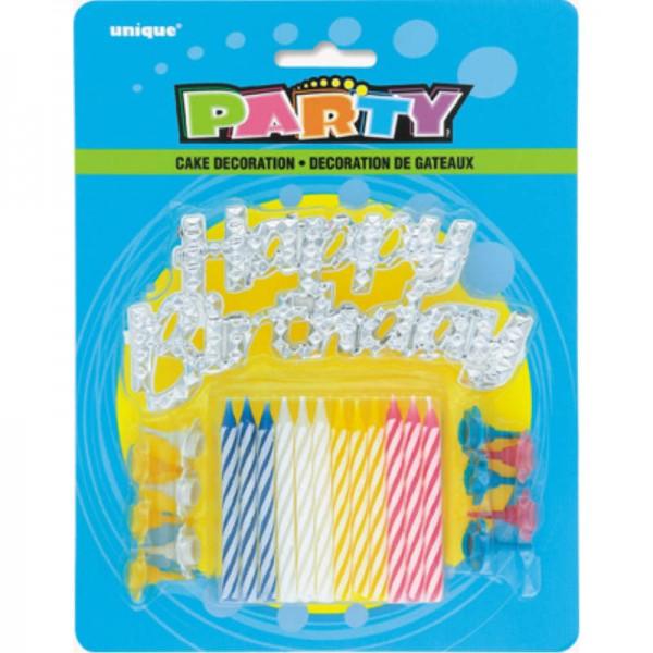 Geburtstagskerzen-Set mit Happy Birthday