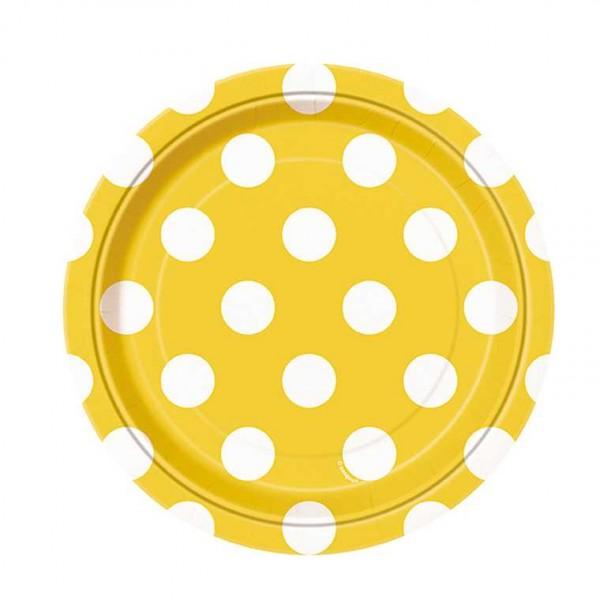 Teller gelb mit weissen Punkten, 8 Stk.