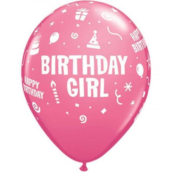 "Luftballons ""Happy Birthday Girl"" pink, 6 Stk."