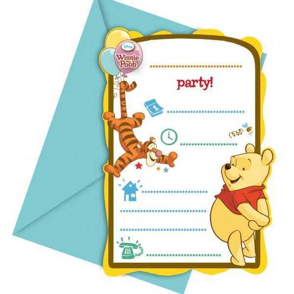 """Einladungskarten Winnie Puuh """"Freunde"""", 6 Stk"""