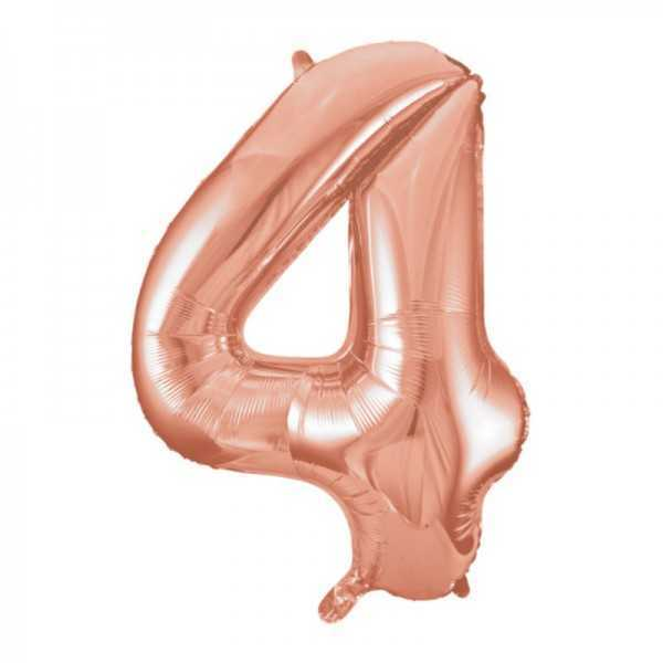 Folienballon Zahl 4 Rose Gold, 1 Stk.