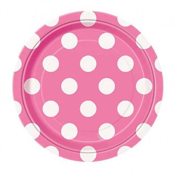 Teller rosa mit weissen Punkten
