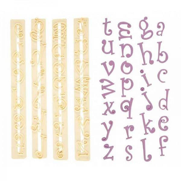 Fondant-Ausstecher Alphabet funky, 4-tlg.