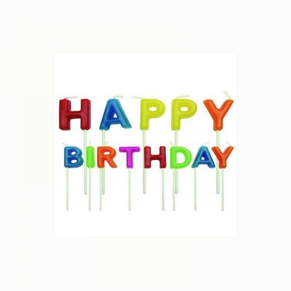 Geburtstagskerze HAPPY BIRTHDAY bunt, 1 Stk.