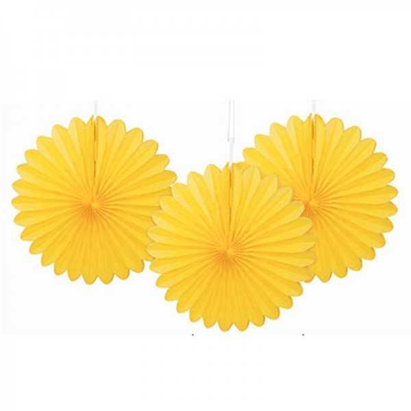 Deko-Fächer gelb, 3 Stk.