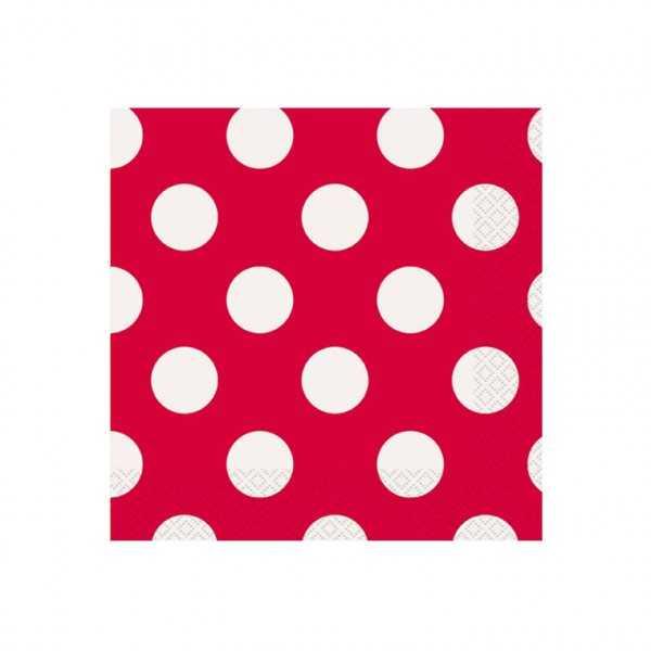 Servietten rot mit weissen Punkten, 16 Stk